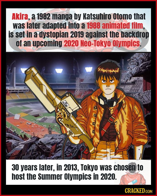 Akira, a 1982 manga by Katsuhiro otomo that was later adapted into a 1988 animated film, is set in a dystopian 2019 against the backdrop of an upcomin