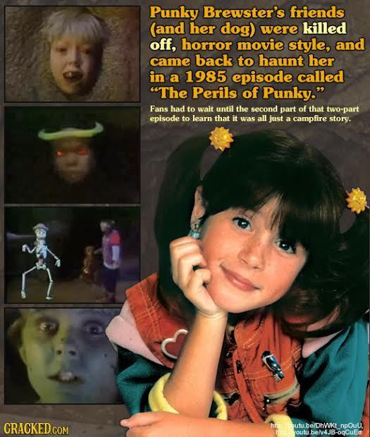 Punky Brewster's friends (and her dog) were killed off, horror movie style, and came back to haunt her in a 1985 episode called The Perils of Punky.