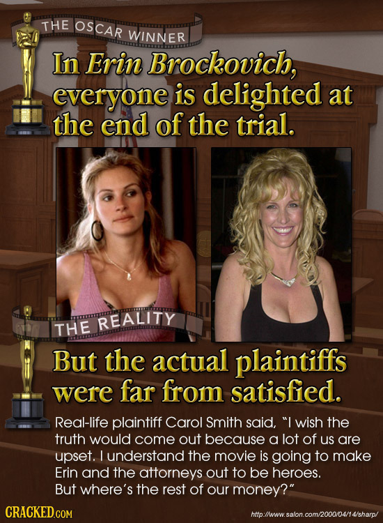 THE OSCAR WINNER In Erin Brockovich, everyone is delighted at the end of the trial. REALITY THE But the actual plaintiffs were far from satisfied. Rea