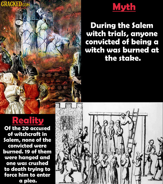 Myth During the Salem witch trials, anyone convicted of being a witch was burned at the stake. Reality of the 20 accused of witchcraft in Salem, none