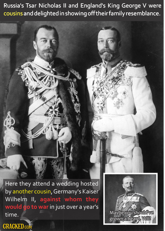 Russia's Tsar Nicholas II and England's King George V were cousins and delighted in showing off their family resemblance. Here they attend a wedding h