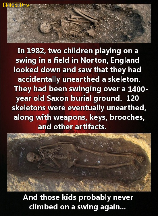 CRACKED CON In 1982, two children playing on a swing in a field in Norton, England looked down and saw that they had accidentally unearthed a skeleton