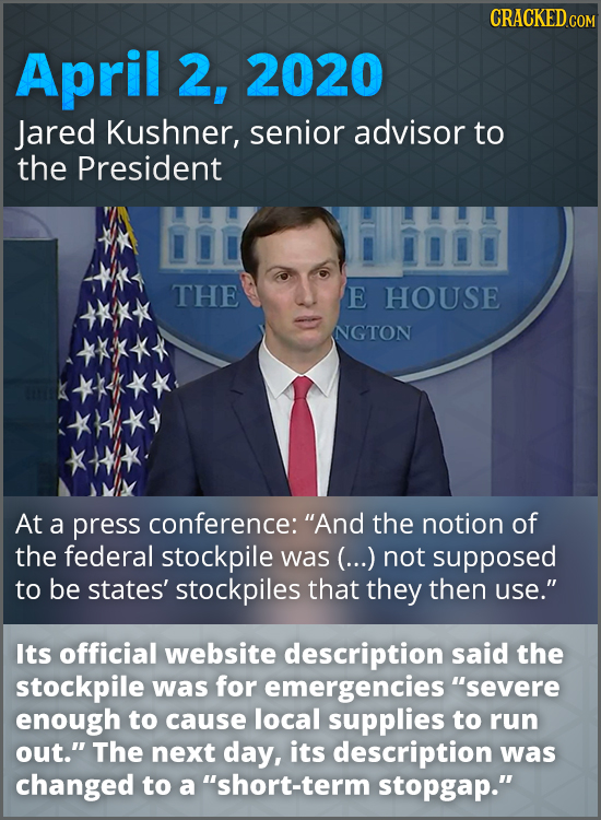 CRACKED COM April 2, 2020 Jared Kushner, senior advisor to the President THE E HOUSE NGTON At a press conference: And the notion of the federal stock