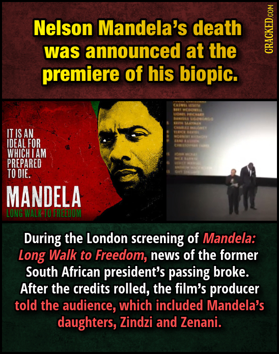 Nelson Mandela's death was announced at the CRAGN premiere of his biopic. CASWEE A4 1 COWAL 0 MWS BAMSMA Wono 00 SAATHAN IT IS AN CMAN M700 BENE NO 64