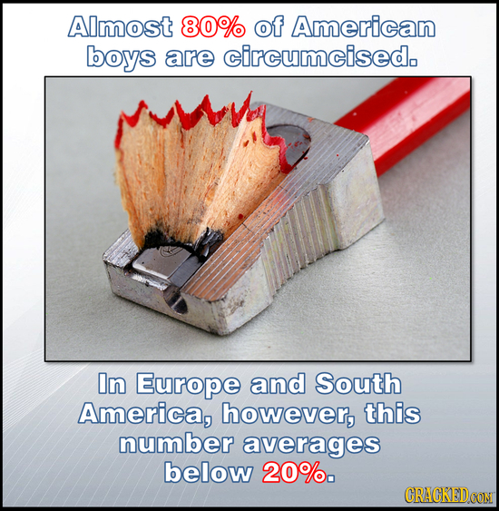 AImost 80% of American boys are circumcised. In Europe and South America, however, this number averages below 20%. CRACKEDCON