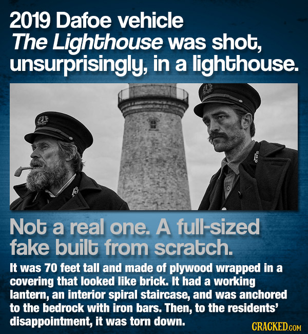 2019 Dafoe vehicle The Lighthouse was shot, unsurprisingly, in a lighthouse. Not a real one. A full-sized fake built from scratch. It was 70 feet tall