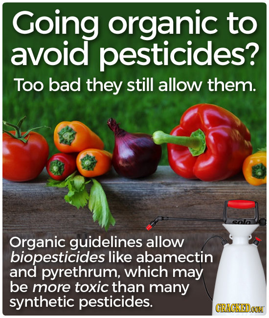 Going organic to avoid pesticides? Too bad they still allow them. Organic guidelines allow biopesticides like abamectin and pyrethrum, which may be mo