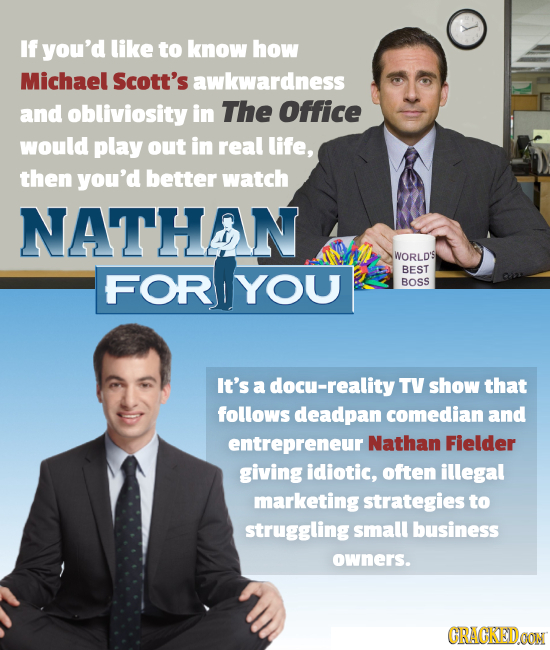 If you'd like to know how Michael Scott's awkwardness and obliviosity in The Office would play out in real life, then you'd better watch NATHAN WORLD'