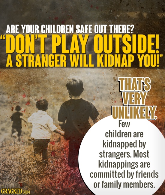 ARE YOUR CHILDREN SAFE OUT THERE? DON'T PLAY OUTSIDE! A STRANGER WILL KIDNAP YOU! THAT'S VERY UNLIKELY Few children are kidnapped by strangers. Most