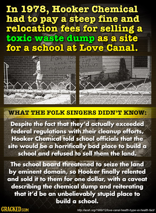 In 1978, Hooker Chemical had to pay a steep fine and relocation fees for selling a toxic waste dump as a site for a school at Love Canal. FOR ess and