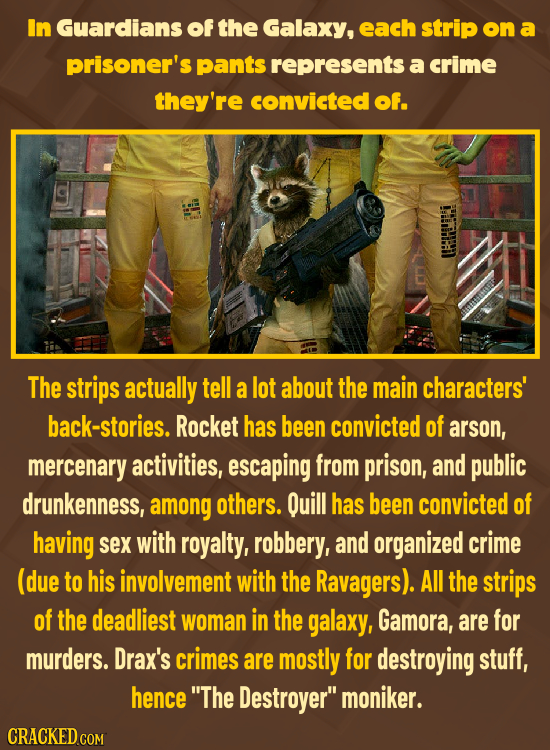 In Guardians of the Galaxy, each strip on a prisoner's pants represents a crime they're convicted of. The strips actually tell a lot about the main ch