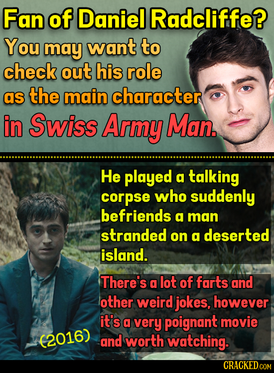 Fan of Daniel Radcliffe? You may want to check out his role as the main character in Swiss Army Man. He played a talking corpse who suddenly befriends