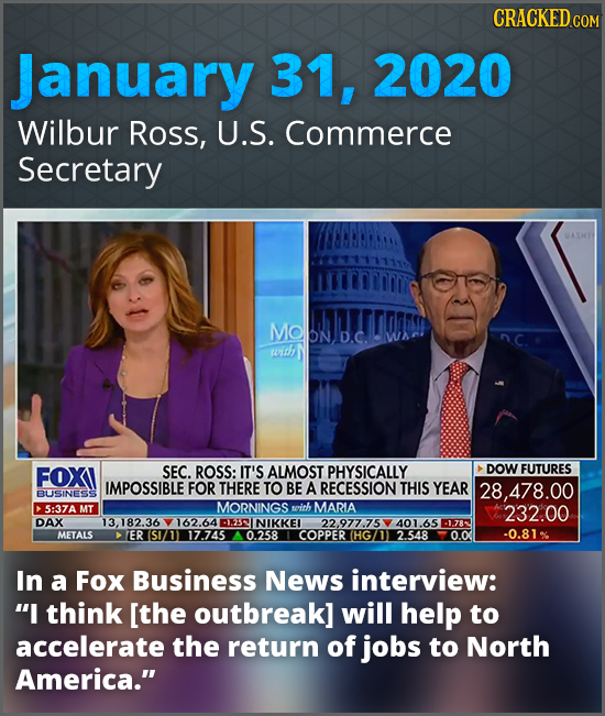 CRACKED CO January 31, 2020 Wilbur Ross, U.S. Commerce Secretary MODND.C. with FOXI SEC. ROSS: IT'S ALMOST PHYSICALLY DOW FUTURES IMPOSSIBLE FOR THERE