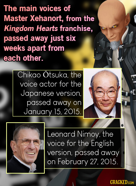The main voices of Master Xehanort, from the Kingdom Hearts franchise, passed away just six weeks apart from each other. Chikao Otsuka. the voice acto