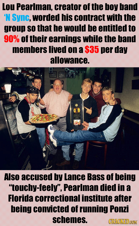 Lou Pearlman, creator of the boy band N Sync, worded his contract with the group SO that he would be entitled to 90% of their earnings while the band