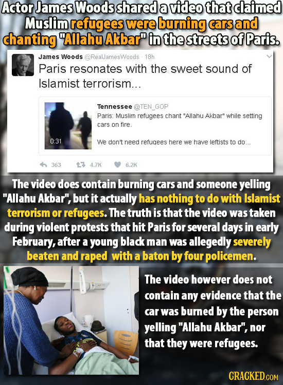 Actor James Woods shared a video that dlaimed Muslim refugees were burning cars and chanting Allahu Akbar in the streets of Paris. James Woods @Real