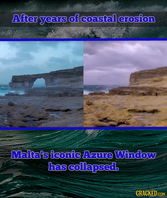After years of coastal erosion Malta's iconic Azure Window has collapsed. CRACKED COM