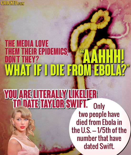 CRACKEDCON THE MEDIA LOVE THEM THEIR EPIDEMICS, 'AAHHH! DON'T THEY? WHAT IF I DIE FROM EBOLA? YOU ARE LITERALLY LIKELIER TO DATE TAYLOR SWIFT. Only t
