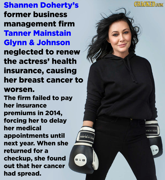 Shannen Doherty's CRACKEDOON former business management firm Tanner Mainstain Glynn & Johnson neglected to renew the actress' health insurance, causin