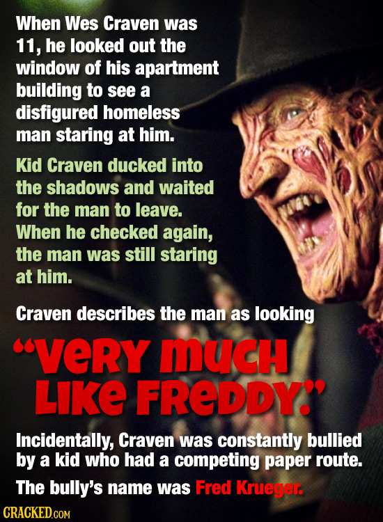 When Wes Craven was 11, he looked out the window of his apartment building to see a disfigured homeless man staring at him. Kid Craven ducked into the