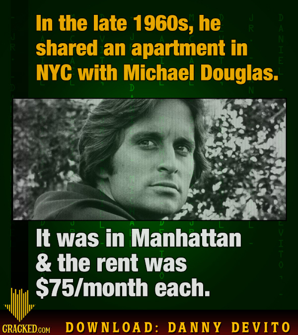 In the late 1960s, he shared an apartment in NYC with Michael Douglas. D N It was in Manhattan & the rent was $75/month each. CRACKED GOM DOWNLOAD: DA
