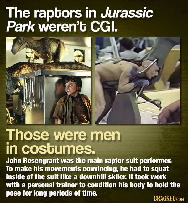 The raptors in Jurassic Park weren't CGI. Those were men in costumes. John Rosengrant was the main raptor suit performer. To make his movements convin