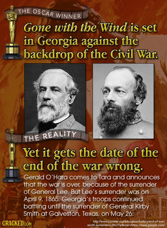 THE OSCAR WINNER Gone with the Wind is set in Georgia against the backdrop of the Civil War. REALITY THE Yet it gets the date of the end of the war wr