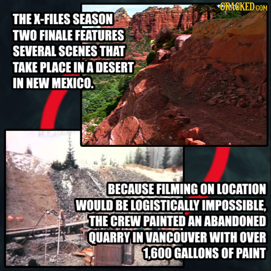 CRACKED.COM THE X- FILES SEASON TWO FINALE FEATURES SEVERAL SCENES THAT TAKE PLACE IN A DESERT IN NEW MEXICO. BECAUSE FILMING ON LOCATION WOULD BE LOG