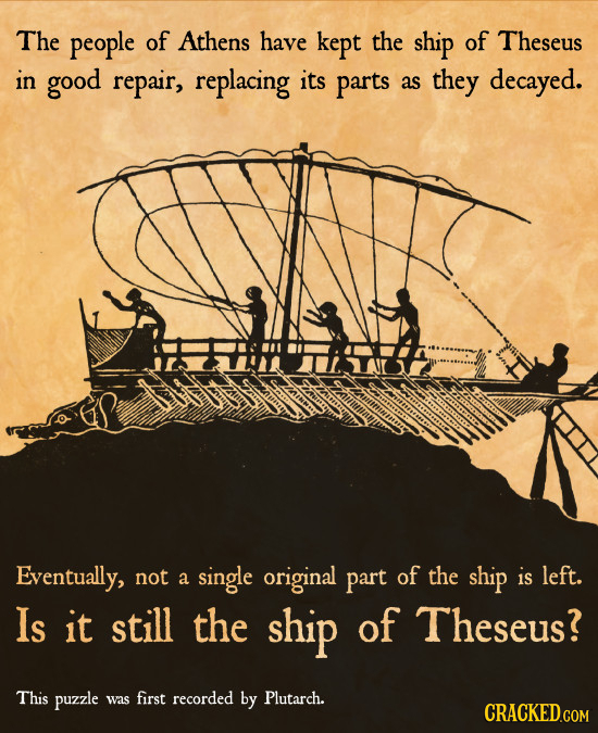 The people of Athens have kept the ship of Theseus in good repair, replacing itS parts as they decayed. Eventually, not a single original part of the