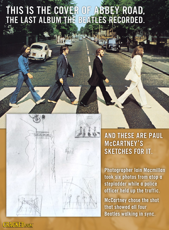 THIS IS THE COVER OF ABBEY ROAD, THE LAST ALBUM THE BEATLES RECORDED. AND THESE ARE PAUL MCCARTNEY'S SKETCHES FOR IT. Photographer lain Macmillan took