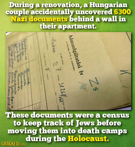 During a renovation, a Hungarian couple accidentally uncovered 6300 Nazi documents behind a wall in their apartment. usbia Adatszolgaltatasi M E. read