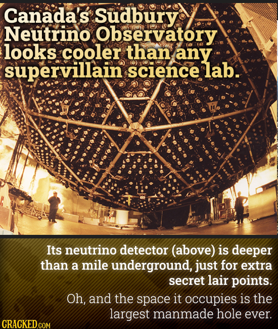 Canada's Sudbury Neutrino Observatory looks cooler than any supervillain science lab. Its neutrino detector (above) is deeper than a mile underground,