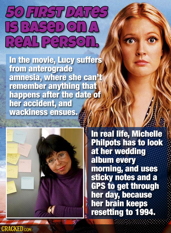 50 FIRST DATES IS BASED on A ReAL person. In the movie, Lucy suffers from anterograde amnesia, where she can't remember anything that happens after th