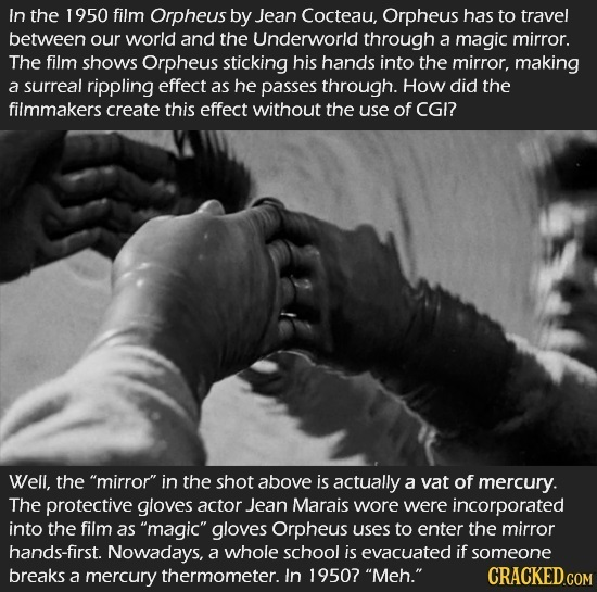 In the 1950 film Orpheus by Jean Cocteau, Orpheus has to travel between our world and the Underworld through a magic mirror. The film shows Orpheus st