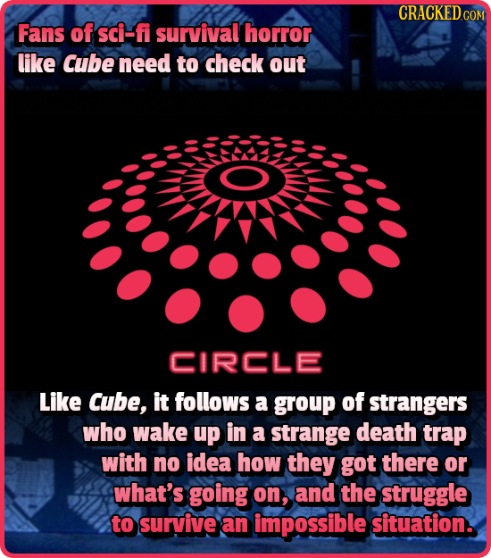 CRACKEDCO Fans of sci-fi survival horror like Cube need to check out CIRCLE Like Cube, it follows a group of strangers who wake up in a strange death