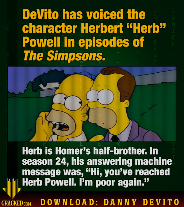 DeVito has voiced the R character Herbert Herb Powell in episodes of The Simpsons. Herb is Homer's half-brother. In season 24, his answering machine