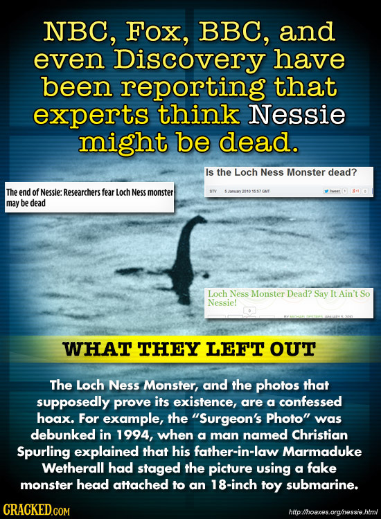 NBC, Fox, BBC, and even Discovery have been reporting that experts think Nessie might be dead. Is the Loch Ness Monster dead? The end of Nessie: Resea