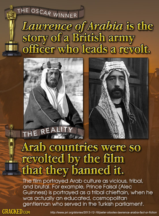 THE OSCAR WINNER Lawrence of Arabia is the story of a British army officer who leads a revolt. REALITY THE Arab countries were SO revolted by the film