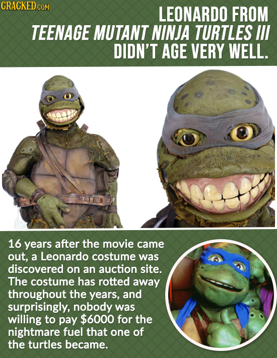 CRACKED c COM LEONARDO FROM TEENAGE MUTANT NINJA TURTLES IIl DIDN'T AGE VERY WELL. 16 years after the movie came out, a Leonardo costume was discovere