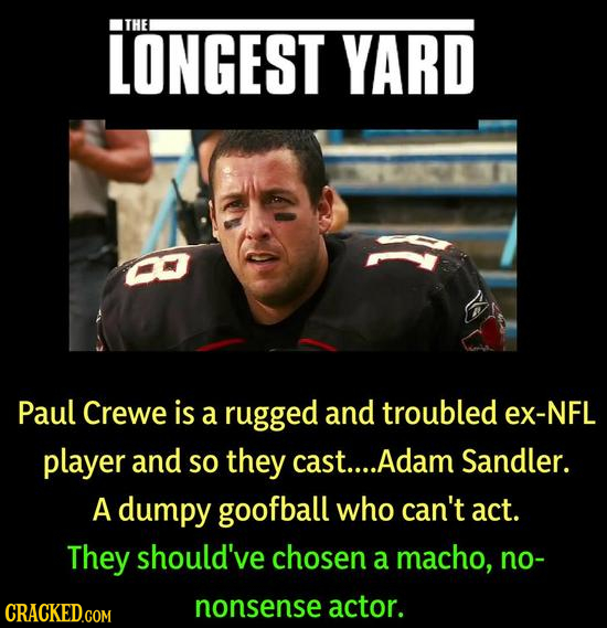 LONGEST THE YARD 8 Paul Crewe is a rugged and troubled ex-NFL player and SO they cast.... .Adam Sandler. A dumpy goofball who can't act. They should'v