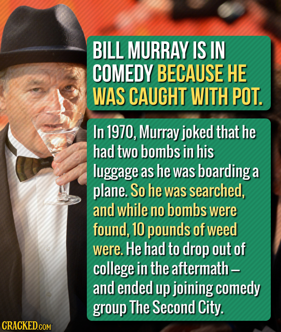 BILL MURRAY IS IN COMEDY BECAUSE HE WAS CAUGHT WITH POT. In 1970, Murray joked that he had two bombs in his luggage as he was boarding a plane. So he