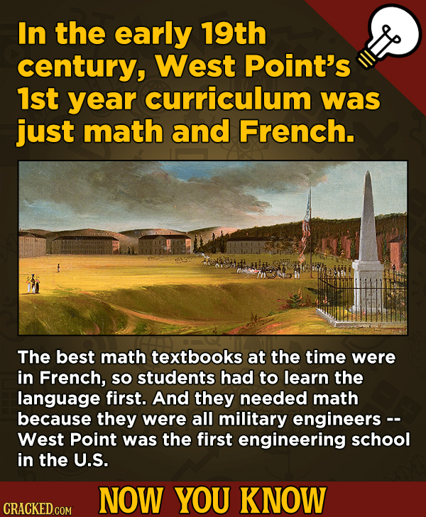 13 Little-Known Facts About Movies, History, And Science - In the early 19th century, West Point's 1st year curriculum was just math and French.