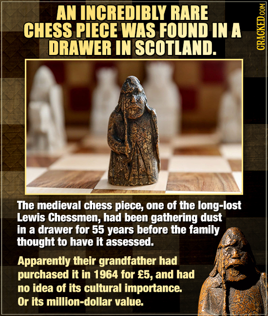 AN INCREDIBLY RARE CHESS PIECE WAS FOUND IN A DRAWER IN SCOTLAND. The medieval chess piece, one of the long-lost Lewis Chessmen, had been gathering du
