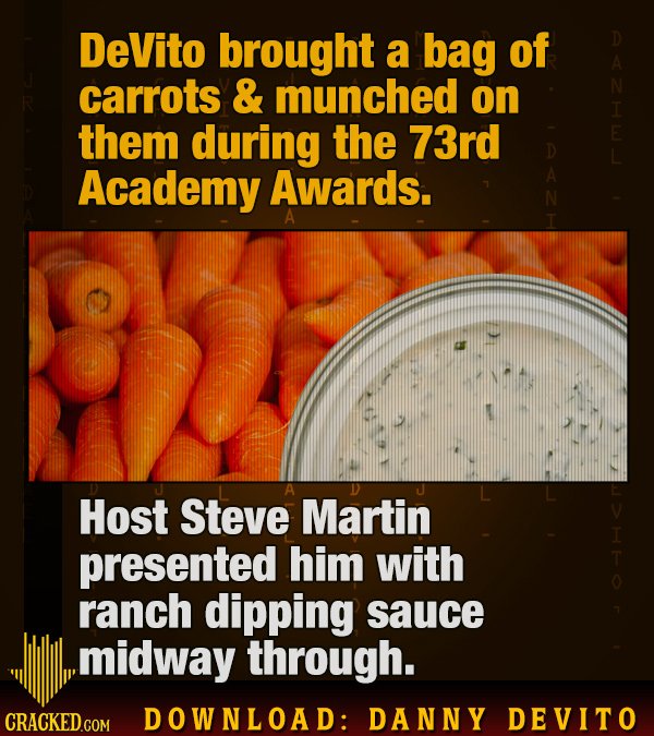 DeVito brought a bag of carrots & munched on them during the 73rd Academy Awards. A D Host Steve Martin presented him with ranch dipping sauce midway