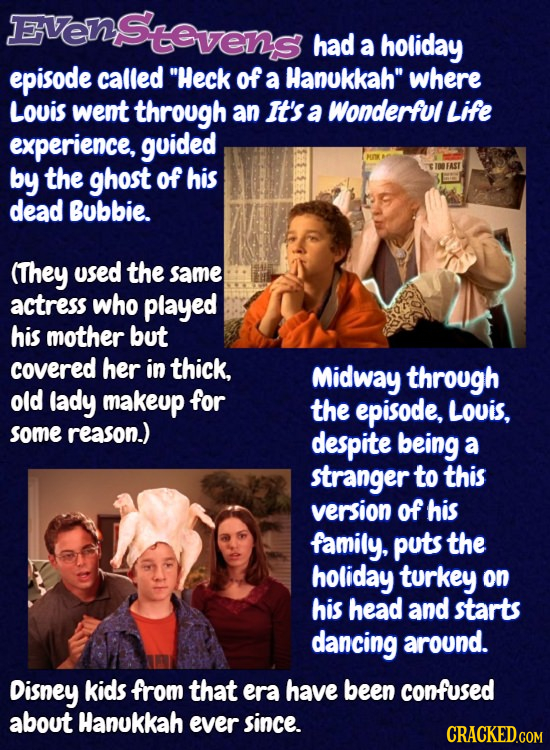 EVenStevens had a holiday episode called Heck of a Hanukkah where Louis wemt through an It's a Wonderful Life experience, guided by the ghost of his