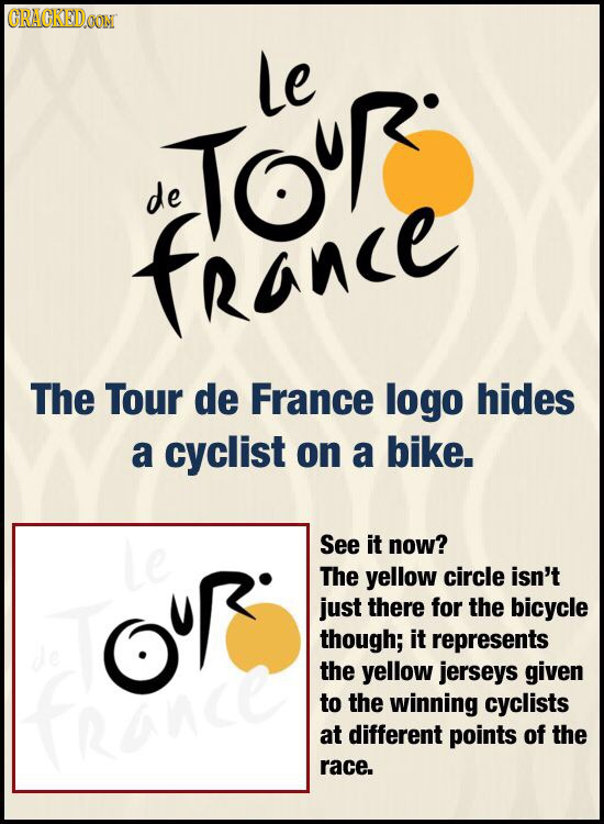 CRACKEIDOON le Touo de france The Tour de France logo hides a cyclist on a bike. Le See it now? The yellow circle isn't OC just there for the bicycle