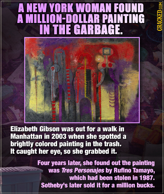 A NEW YORK WOMAN FOUND A MILLION-DOLLAR PAINTING IN THE GARBAGE. CRA Elizabeth Gibson was out for a walk in Manhattan in 2003 when she spotted a brigh