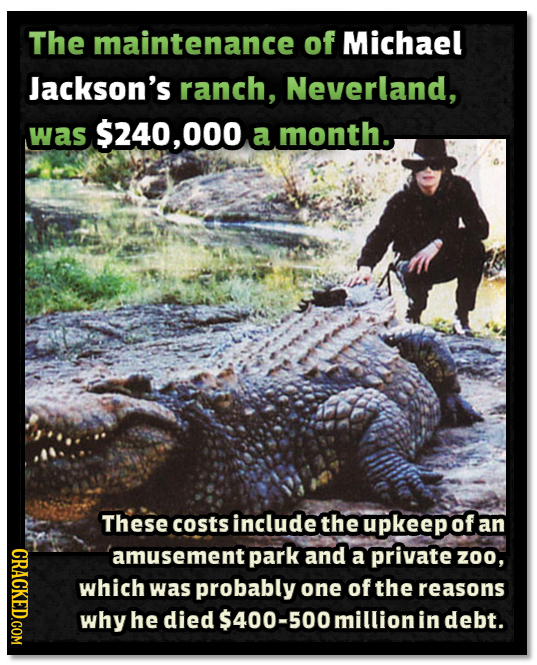 The maintenance of Michael Jackson's ranch, Neverland, was $240,000 a month. These costs include the upkeepof an CRACE amusement park and a private zo
