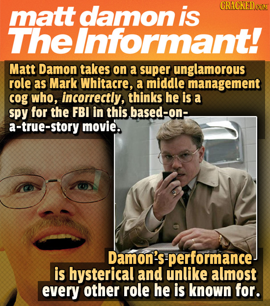 matt damon is CRACKED cO The eInformant! Matt Damon takes on a super unglamorous role as Mark Whitacre, a middle management cog who, incorrectly, thin