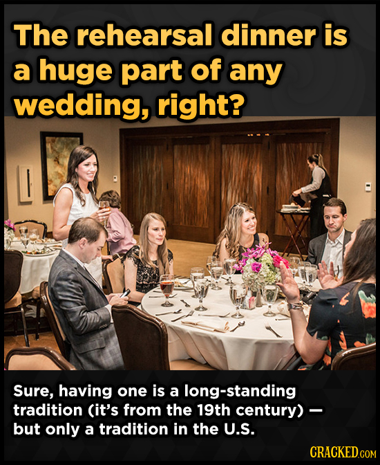 The rehearsal dinner is a huge part of any wedding, right? Sure, having one is a long-standing tradition (it's from the 19th century) - but only a tra